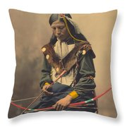 Portrait Of Oglala Sioux Council Chief Bone Necklace Throw Pillow
