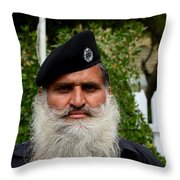 Portrait Of Pakistani Security Guard With Flowing White Beard Karachi Pakistan Throw Pillow