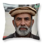 Portrait Of Pathan Tuk Tuk Rickshaw Driver Peshawar Pakistan Throw Pillow
