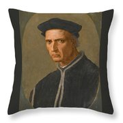Portrait Of Piero Soderini Half Length Wearing A Black Coat And A Black Hat Throw Pillow