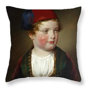 Portrait Of Prince Victor Odescalchi  In Greek Costume At The Age Of Five Throw Pillow