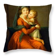 Portrait Of Princess Alexandra Golitsyna And Her Son Piotr Throw Pillow