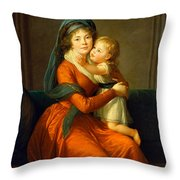 Portrait Of Princess Alexandra Golitsyna And Her Son Piotr Throw Pillow