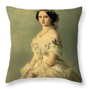 Portrait Of Princess Of Baden Throw Pillow by Franz Xaver Winterhalter