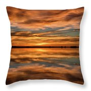 Portrait Of Sunrise Reflections On The Great Plains Throw Pillow