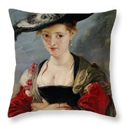 Portrait Of Susanna Lunden Throw Pillow by Peter Paul Rubens