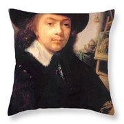 Portrait Of The Artist In His Studio Throw Pillow