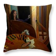 Portrait Of The Artist Throw Pillow by J Reynolds Dail