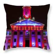 Portrait Of The Denver City And County Building During The Holidays Throw Pillow