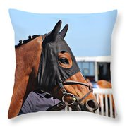 Portrait Of The Horse In The Hood Throw Pillow
