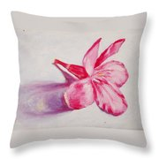 Portrait Of The Kaneri Flower. Oleander Throw Pillow