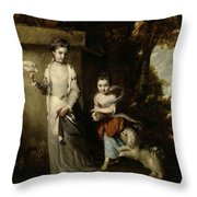 Portrait Of The Ladies Amabel And Mary Jemima Yorke Throw Pillow
