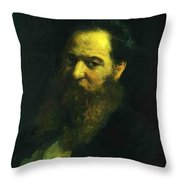 Portrait Of The Physiologist Moriz Schiff Throw Pillow