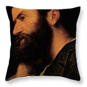 Portrait Of The Poet Pietro Aretino Throw Pillow