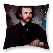 Portrait Of The Singer Karl Wallenreiter Throw Pillow
