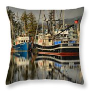 Portrait Of The Ucluelet Trawlers Throw Pillow