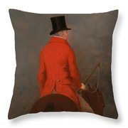 Portrait Of Thomas Cholmondeley - 1st Lord Delamare On His Hunter  Throw Pillow