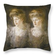 Portrait Of Two Ladies Throw Pillow