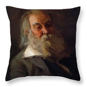 Portrait Of Walt Whitman 1887 Throw Pillow