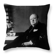 Portrait Of Winston Churchill  Throw Pillow