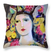 Portrait Of Woman With Flowers Throw Pillow