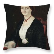Portrait Of Woman With Peony Throw Pillow