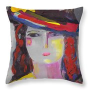 Portrait Of Woman With Vintage Hat Throw Pillow