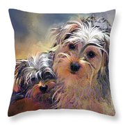 Portrait Of Yorkshire Terrier Puppy Dogs Throw Pillow