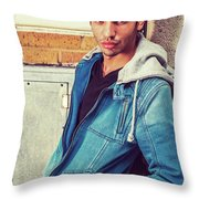 Portrait Of Young Man In New York Throw Pillow