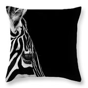 Portrait Of Zebra In Black And White Iv Throw Pillow
