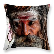 Portrait On The Ganges Throw Pillow