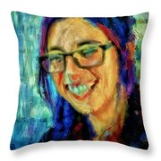 Portrait Painting In Acrylic Paint Of A Young Fresh Girl With Colorful Hair In A Library With Books  Throw Pillow