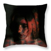 Portrait Painting Of Girl In Red Gray Black With Wistful Thoughts Of Fleeting Memories Throw Pillow
