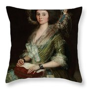 Portrait Senior Sean Bermudes Portrait Of Maria De Borbon Luisy Throw Pillow