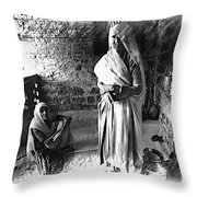 Portrait Sisters Village Elders Seniors Indian Rajasthani Bnw 2a Throw Pillow