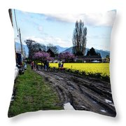 Portraits In A Daffodil Field Throw Pillow