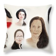 Portraits Of Lovely Asian Women II Throw Pillow