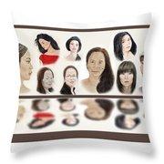 Portraits Of Lovely Asian Women  Throw Pillow