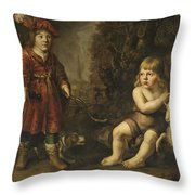 Portraits Of Two Boys In A Landscape One Dressed As A Hunter The Other St As John The Baptist Throw Pillow