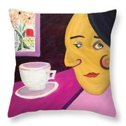 Portrat With Cup And Flowers Throw Pillow