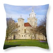Portsmouth Cathedral In Springtime Throw Pillow