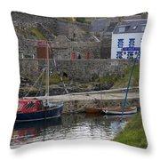 Portsoy Harbour Throw Pillow