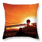 Sunset Under The 25 April Bridge Lisbon Throw Pillow
