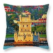 Lisbon Belem Tower From The River Throw Pillow