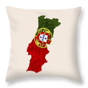 Portugal Map Art With Flag Design Throw Pillow