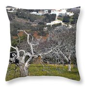 Portuguese Almond Plantation Throw Pillow