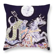 Poseidon Rides The Sea On A Moonlight Night Throw Pillow by Carol  Law Conklin
