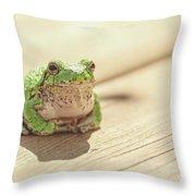 Posing Tree Frog Throw Pillow