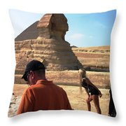 Posing With Sphinx Throw Pillow
