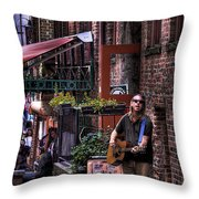 Post Alley Musician Throw Pillow
